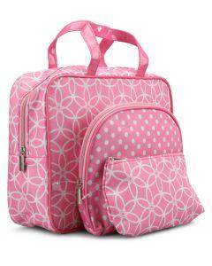 Gillian Jones Kosmetiktasker - 3 Dele Pink Blomster Og Prikker Ref. 0125