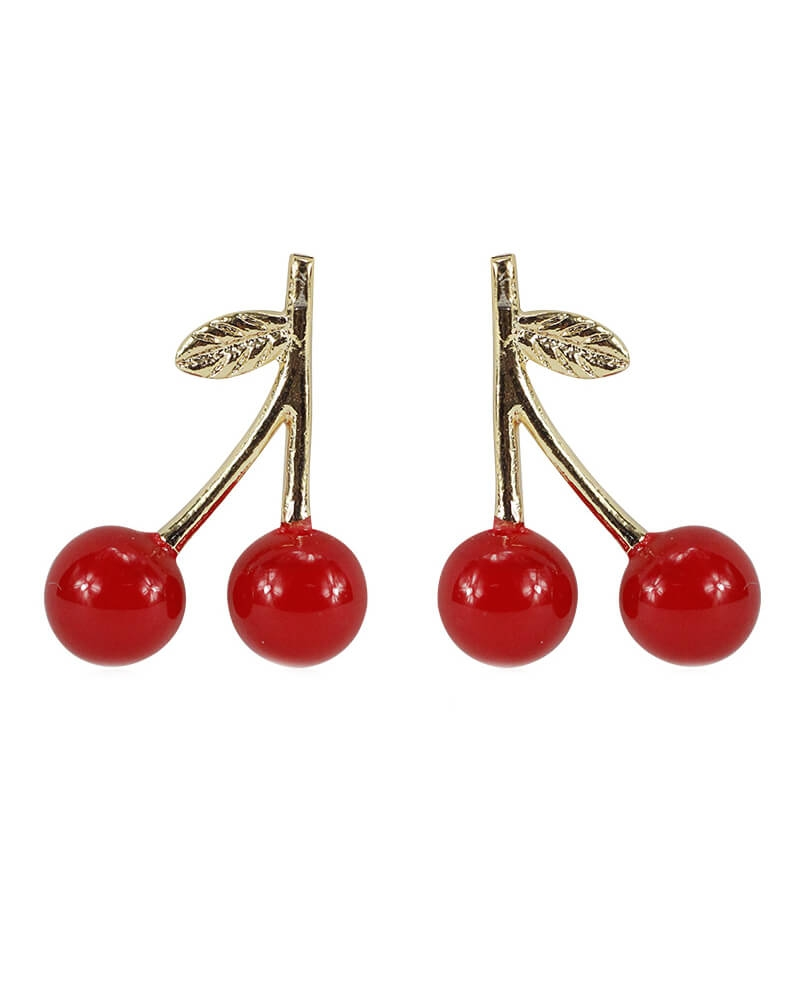 Everneed Cherry earrings red/gold (U)