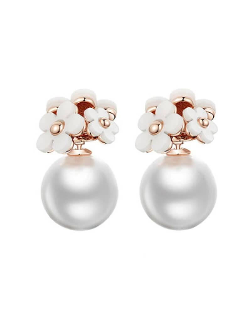 Everneed Daisy White flower earrings (U)