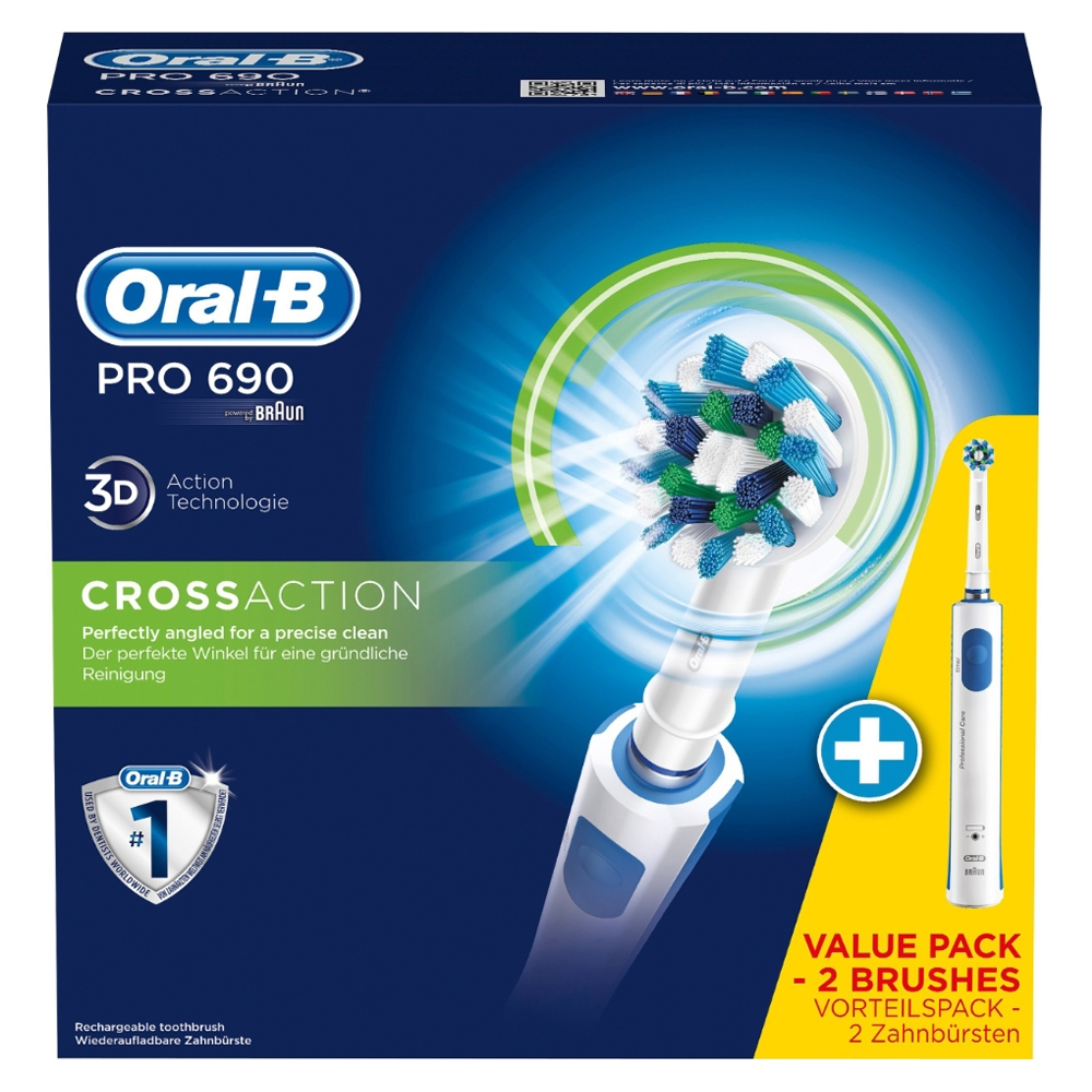 Oral B - Braun Pro 690 3D CrossAction Doublepack 2 Toothbrushes + 2 brush heads