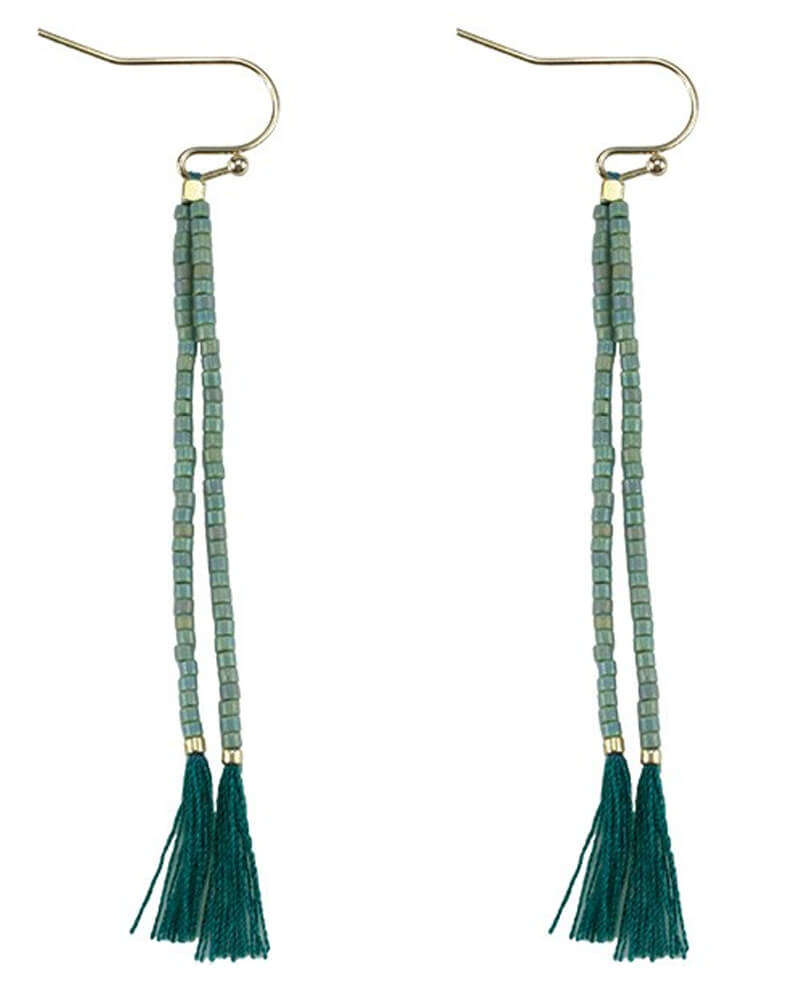 Everneed Nille Tassel earrings Dusty Jade